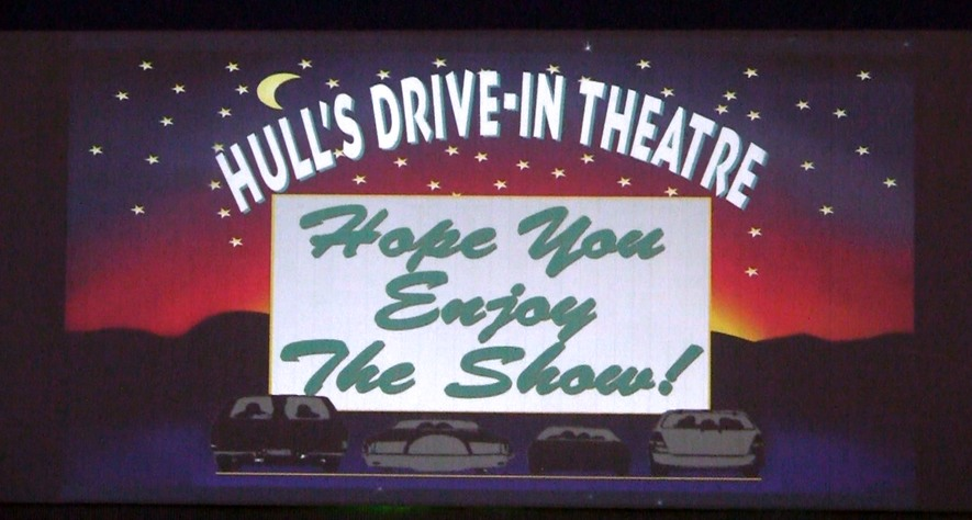 The evening show starts at Hulls Drive-in in Lexington, Va.