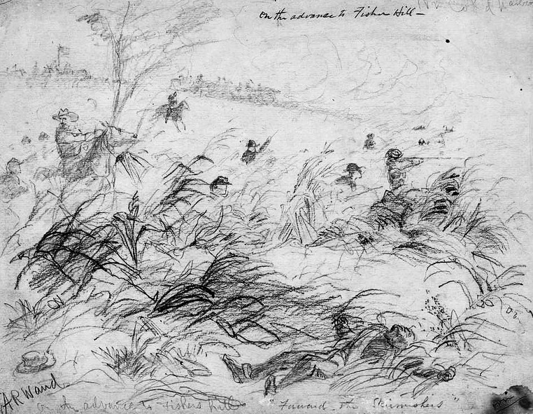 Union troops on the move during the Civil War Battle of Fishers Hill